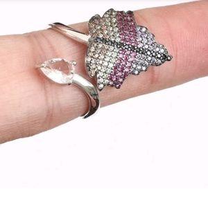 Leaf quartz Amethyst rubies ring sz8 adjustable